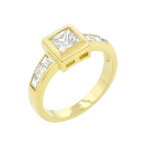 Simple Golden Square Bezel Cubic Zirconia Ring Size 6