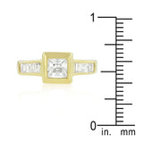 Simple Golden Square Bezel Cubic Zirconia Ring Size 8