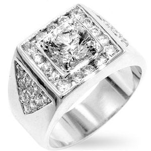 Brilliant Men's Cubic Zirconia Ring Size 12