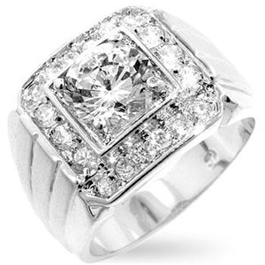 Men's Two-tone Finish Cubic Zirconia Ring Size 13