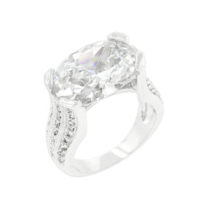 Oval Triplet Cubic Zirconia Ring Size 5