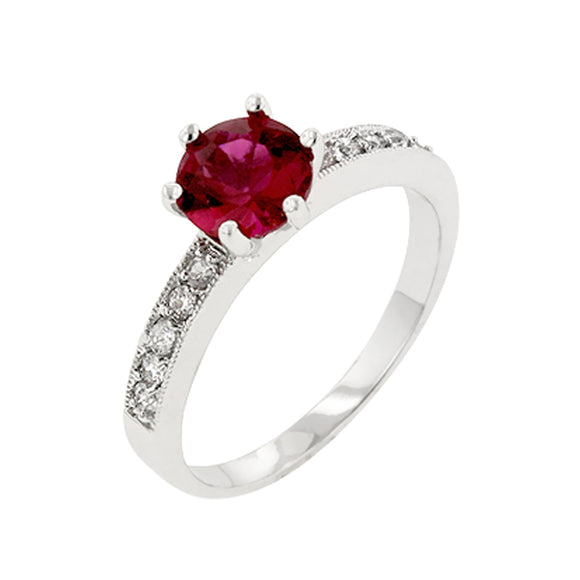 Petite Garnet Red Engagement Ring Size 9