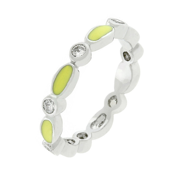 Yellow Link Enamel Stacker Ring Size 7