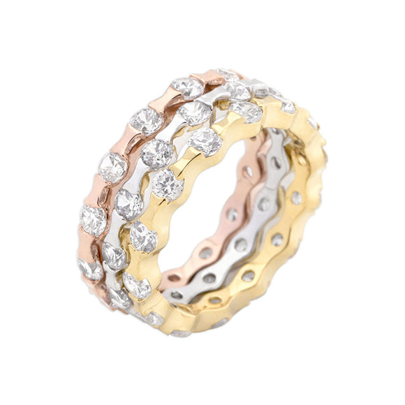 Tri-tone Stackable Rings Size 6