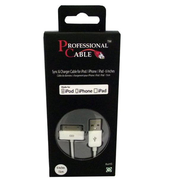 Professional Cables USB to iPod / iPhone/iPad 30 pin Connector Sync Cable - White - 6 Inches - used to charge, dock, and sync iPods and iPhones to comptuers