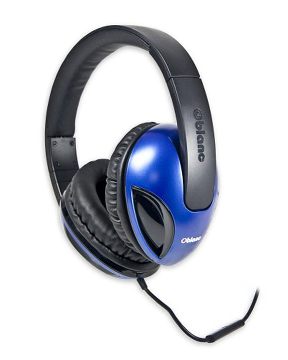 Oblanc COBRA200 with Massive 50mm Driver Audio Headphones and Invisible In-line Microphone BLUE