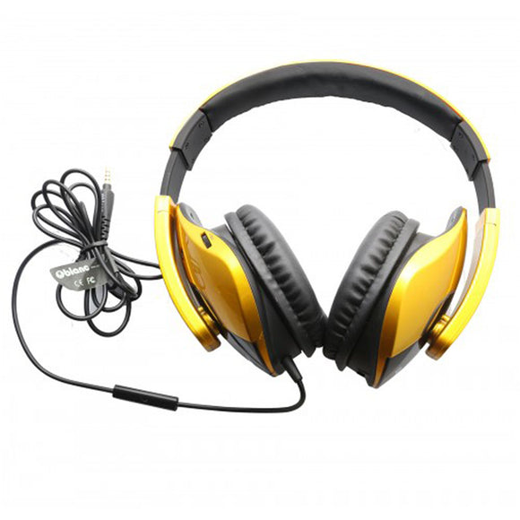 Oblanc SHELL210 Dual Driver Speaker Headphones 2.1 Listening Experience for Gamers Golden Color