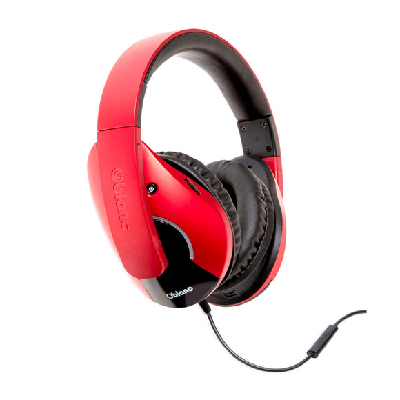 Oblanc SHELL210 Dual Driver Speaker Headphones 2.1 Listening Experience for Gamers Red