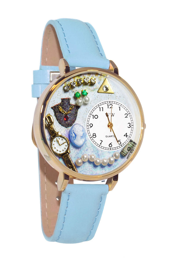 Jewelry Lover Pearls Blue Baby Blue Leather And Goldtone Watch