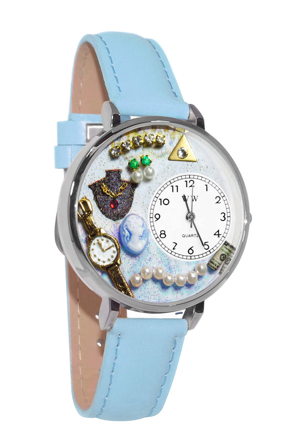 Jewelry Lover Pearls Blue Baby Blue Leather And Silvertone Watch