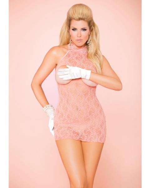 Elegant Moments Vivace Cupless Lace Dress Coral Pink Qn