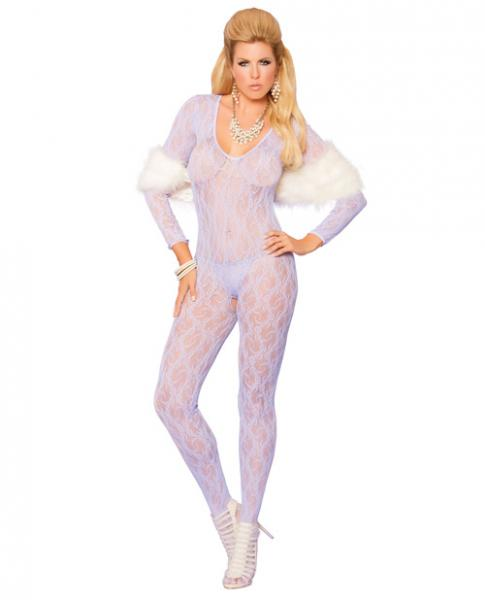 Elegant Moments Vivace Long Sleeve Lace Bodystocking Open Crotch Lilac Qn