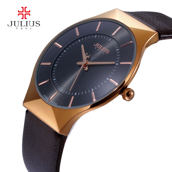 Men Watches Luxury Brand Julius Ultra Thin Full Genuine Leather Clock Male Waterproof Casual Sport Watch Men Wrist Quartz Watch