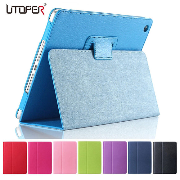 For Apple ipad Air 2 Case Air2 II Flip Litchi PU Leather Wake Up /Sleep Cover For New ipad 6 Air 2nd with Smart Stand Holder
