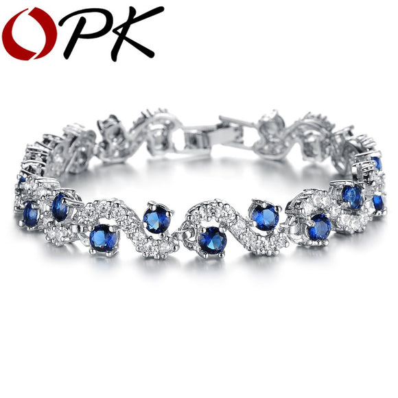 OPK JEWELRY Fashion EU Style Silver Color Blue Crystal Stone Bracelets & Bangles Luxury Romantic Wedding Jewelry Gift, DS931