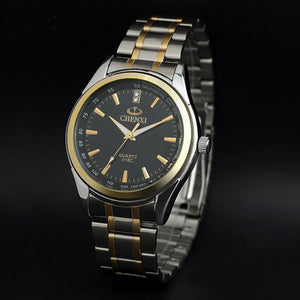 Luxury Top Brand CHENXI Men Dress Watch Stainless Steel Gold Silver Quartz Wristwatch Waterproof Retro Male Business Clock
