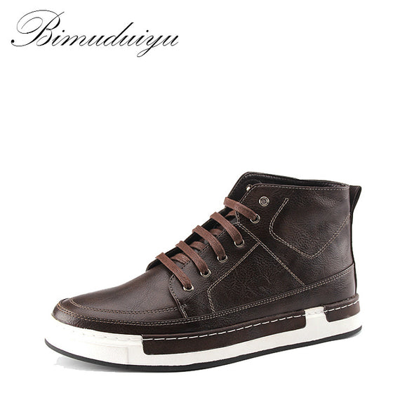 BIMUDUIYU Autumn New high-top Men's Ankle Boots Fashion Tie Casual Non-slip Waterproof Snow Boots Microfiber Leather Retro shoes