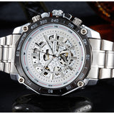 Automatic Winding Mechanical Watches Men Luxury Brand Full Steel Skeleton Men Noctilucent point Waterproof Wrist Watch For Man