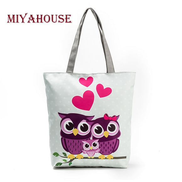 Miyahouse Lovely Owl Printed Women's Casual Tote Large Capacity Canvas Female Shopping Bag Ladies Shoulder Handbag Beach Bag