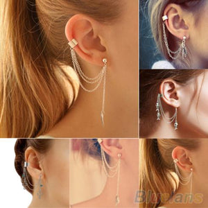 1PC Punk Silver Tassels Chain Leaf Fish Cross Charms Metallic Ear ear cuff earrings 1Q3J