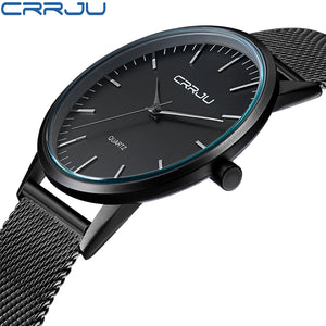 New Fashion Mens Watches Top Brand Luxury CRRJU Men Quartz Watch Mesh Band Stainless Steel Ultra Thin Clock Relogio Masculino