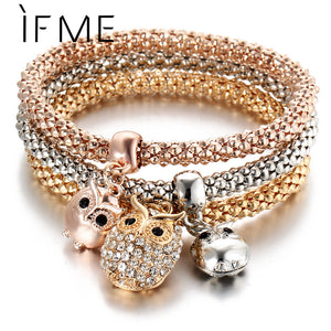 3 Pcs/Set Crystal Owl Crown Charm Bracelets&Bangles 3 Color Rose Gold Color Elephant Anchor Pendants Rhinestone Bracelet Women