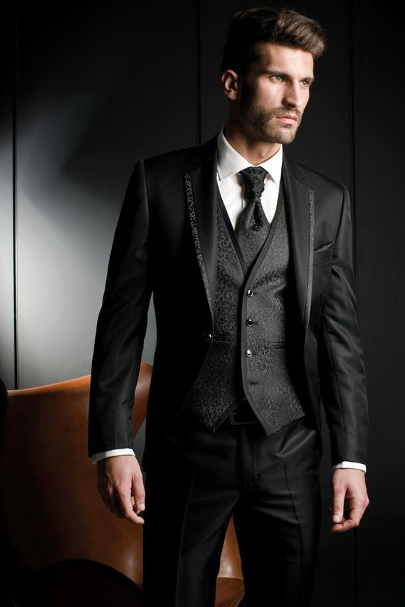 2016 New Arrival Groom Tuxedo Black Groomsmen Notch Lapel Wedding/Dinner Suits Best Man Bridegroom (Jacket+Pants+Tie+Vest)B327