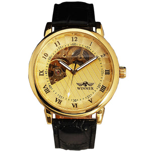 2017 WINNER Men Mechanical Watch Luminous Hands Round Skeleton Watch Leather Strap Semi-automatic Male Wristwatch Unique Design