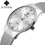 Super slim Quartz Casual Wristwatch Business Top Brand WWOOR Stainless Steel Analog Quartz Watch Men's 2016 Relojes Hombre