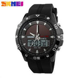 Watches Men Waterproof Solar Power Sports Casual Watch Man Men's Wristwatches 2 Time Zone Digital Quartz LED Clock Men