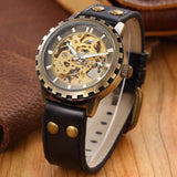 brand leather band men male military clock automatic Skeleton mechanical Watch self wind Vintage luxury Steampunk style watch