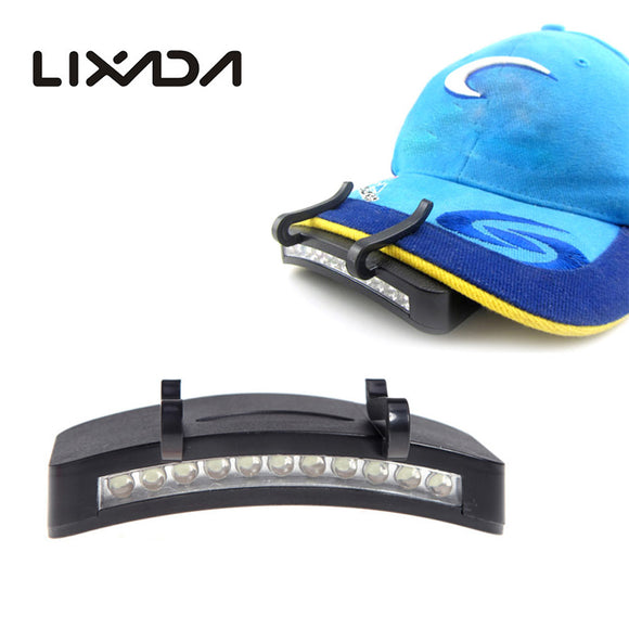 11 LED Clip-On Caplight White Light Lamp Cycling Hiking Camping Cap Light Night Fishing Repair Car Outdoor Caplights