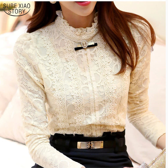 New 2017 Hot women tops Women Clothing fashion Blusas Femininas Blouses & Shirts Fleece Women Crochet Blouse Lace Shirt 999