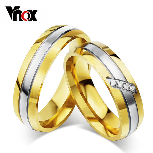 Vnox Trendy Wedding Ring 316l Stainless Steel Metal CZ Zircon Stone Finger Jewelry
