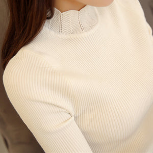 2017 Korean Fashion Women Sweaters and Pullovers Sueter Mujer Ruffled Sleeve Turtleneck Solid Slim Sexy Elastic Women Tops