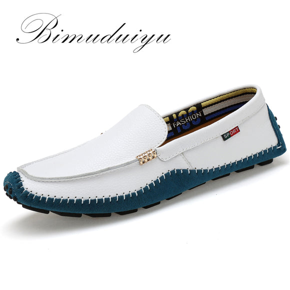 BIMUDUIYU Big Size High Quality Genuine Leather Men Shoes Soft Moccasins Fashion Brand Men Flats Comfy Casual Driving Boat38-47