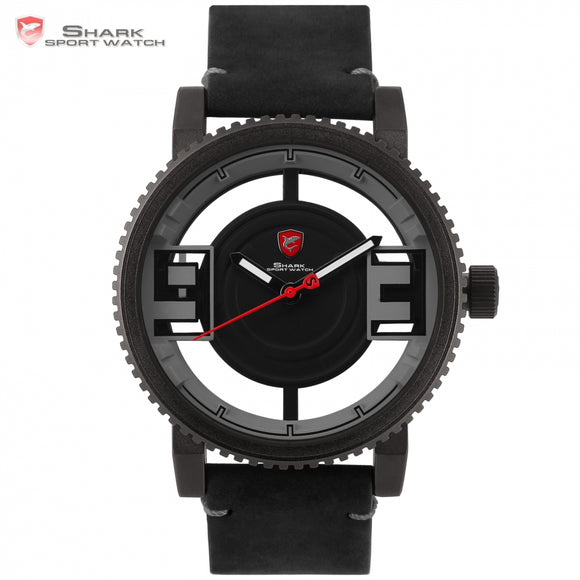 Megamouth Shark Sport Watch 2017 New Transparent Hollow Face Gearwheel Bezel Leather Strap Men Male Outdoor Watches Gift /SH545