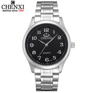Sale Relojes free shipping for men Black and White dial silver bracelet classic watches men CHENXI CX-010A men full steel watch