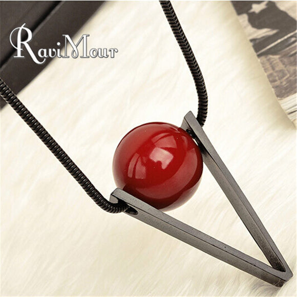 RAVIMOUR Fashion Women's Long Necklace Steampunk Red Ball Triangle Maxi Necklaces & Pendants Collares Jewelry 2017