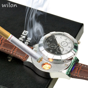 1pcs Fashion Rechargeable USB Lighter Watches Electronic Men's Casual Quartz Wristwatches Windproof Flameless Cigarette Lighter