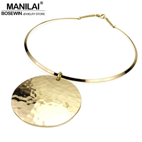 MANILAI Punk Women Collar Choker Necklace 2017 Maxi Big Circle Metal Pendants Torques Statement Necklaces Golden & Silver Color