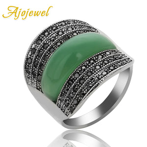 Ajojewel 2017 Original Jewelry Green Stone Geometric Vintage Rings For Women With Black Rhinestones Bijoux