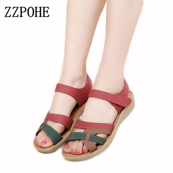 ZZPOHE Mother sandals soft leather large size flat sandals summer casual comfortable non - slip in the elderly women 's shoes 41