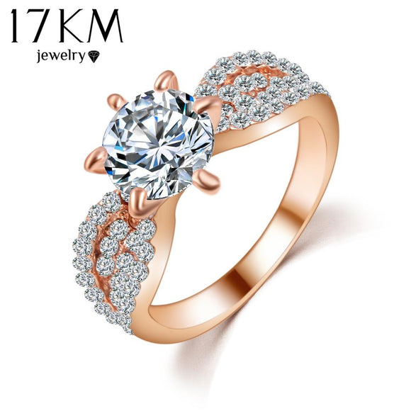 17KM Romantic Wedding Crystal Rings Rose Gold Color Big Cubic Zircon Womens Fashion Jewellery Ring Full Size