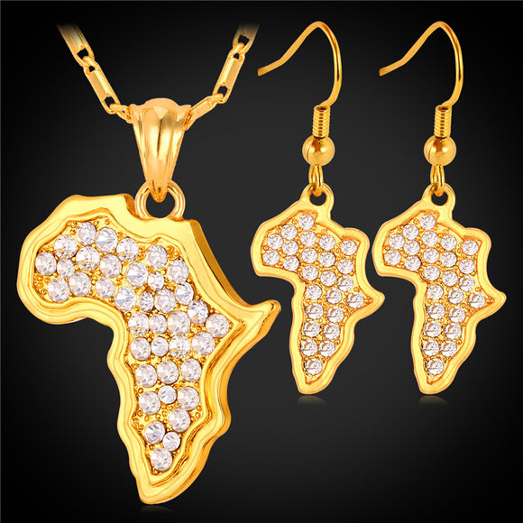 Africa Map Pendant Necklace Earrings Set For Women Charms Austrian Rhinestone Gold Color African Jewelry Sets PE731