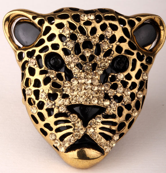 Leopard stretch ring for women antique gold & silver color W crystal fashion jewelry wholesale dropship
