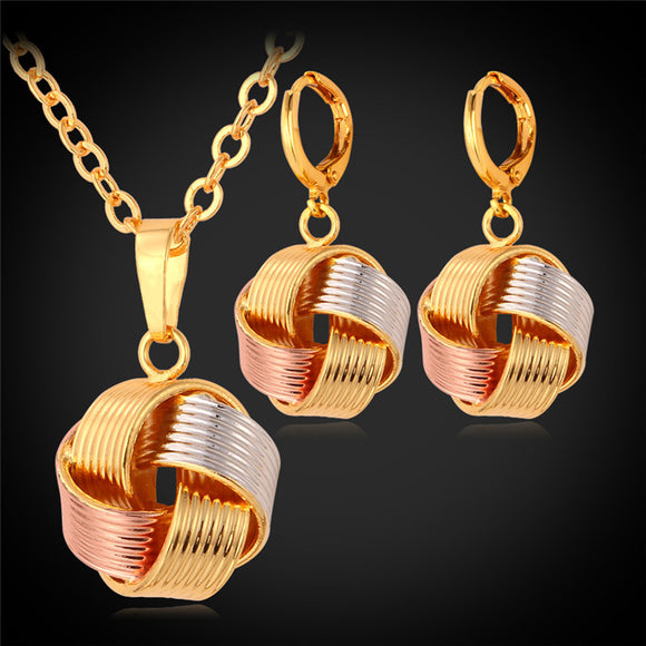 Pendant Necklace Dangle Earrings Set For Women Trendy 3 Color Mix Rose Gold/Gold Color Jewelry Set PE874