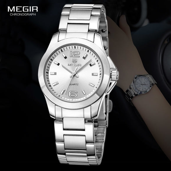 MEGIR Women's Simple Round Dial Quartz Watches Stainless Steel Waterproof Wristwatch for woman MS5006L