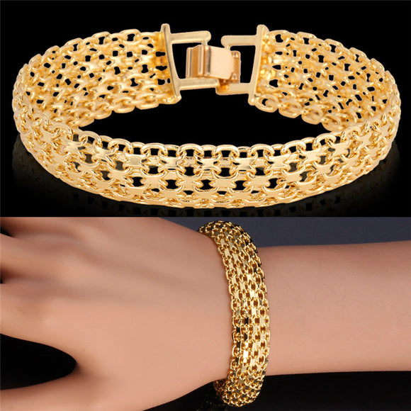 Gold Color Bracelet For Women Trendy Summer Style Jewelry Sale 2 Color Vintage Bangle Men Bracelet H369