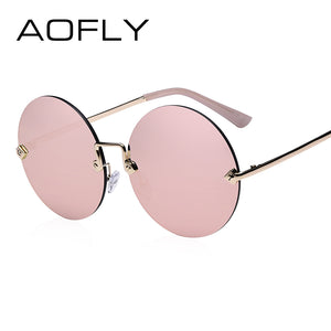 AOFLY Round Rimless Sunglasses Women Vintage Sun Glasses Women Female Brand Design Mirrored Lens UV400 Glasses